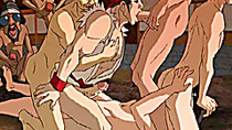 A group of hot gay anime studs in gangbang action