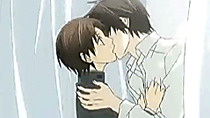 Hentai gay boy and man having kisses and love in library room