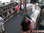 Black guy fucked in a hot threesome in a pawn shop
