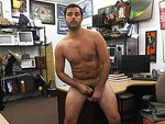 White hot man sucked two hard rock dick in the shop for a couple of bucks