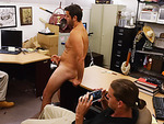 Latino hot guy becomes hardcore in sucking and fucking dicks in the shop